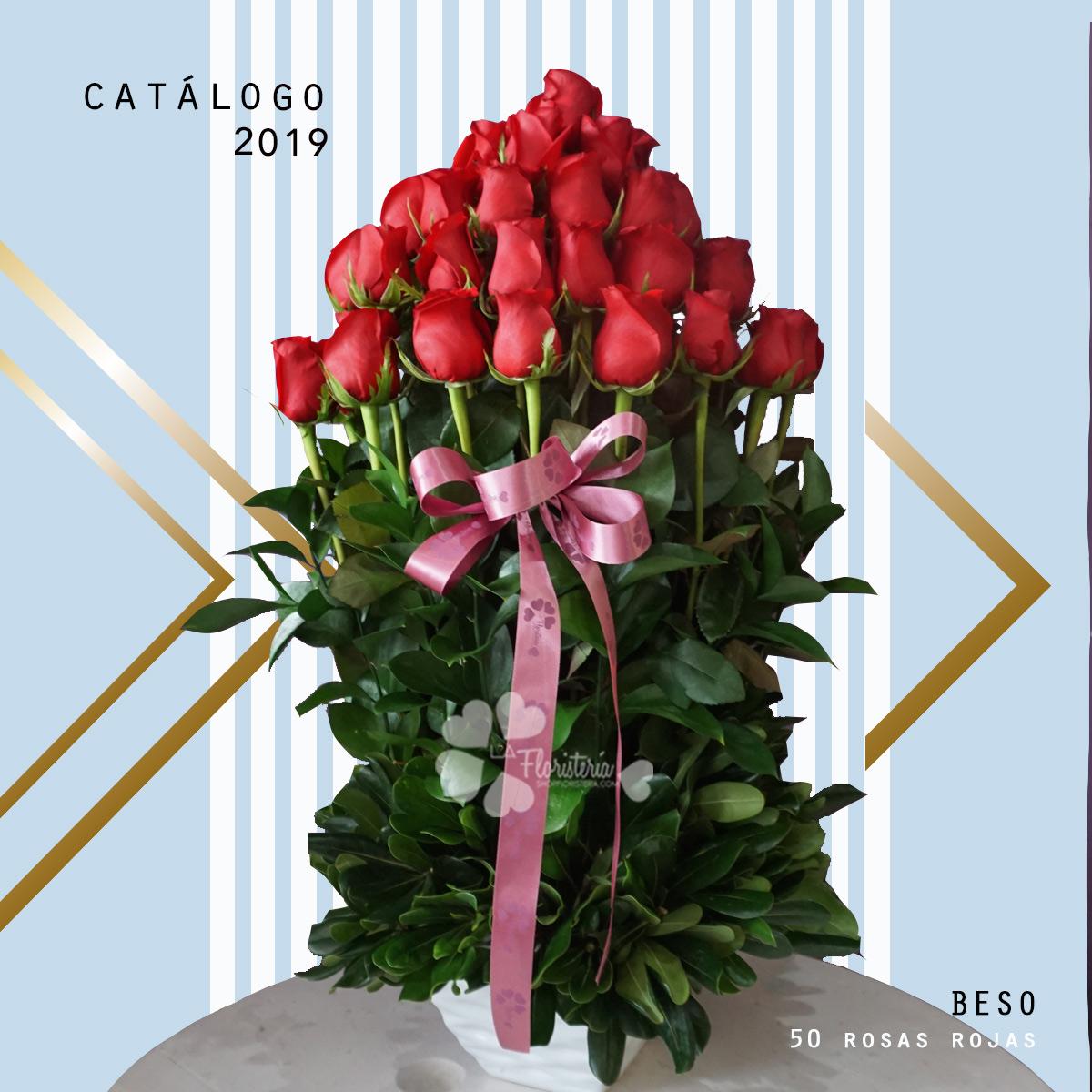 An arrangement of 50 roses