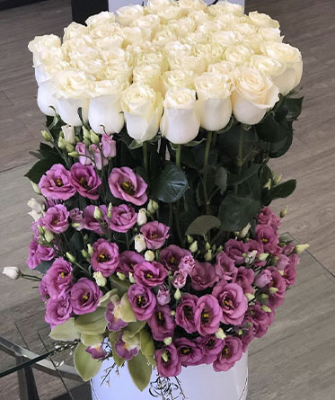 White Roses and Orchid Arrangement